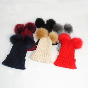 Cappelli in maglia a coste spessi invernali per uomo e donna come pelliccia di volpe tinta unita doppio soffice pompon palla cuffia cuffia cappello protezione dell'orecchio