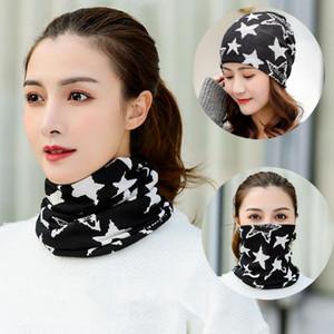 1 Pc Star Shape Neck Gaiter Neckerchief Neck Warmer Dual-use Hat Face Mask Scarf Hood Bandana for Ladies Girls (Black)