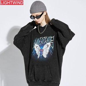 2020 Kelebek Baskı Sıkıntılı Kapüşonlu Tişörtü Hoodies Streetwear Hip Hop Punk Rock Hipster Casual Tops Erkekler