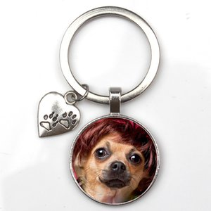 Personalize Cute Animal Keychain Dog I Love Glass Pendant Mini Heart Custom Pet Picture Keyring Man Girl Favorite Gift Souvenir