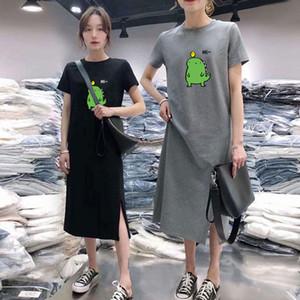E-Baihui 2020 Short-sleeved T-shirt Dress, Net Red and Ocean Split Long Skirt, One Piece Dress Tee Loose Ins Tide Over The Knee Dress LN21