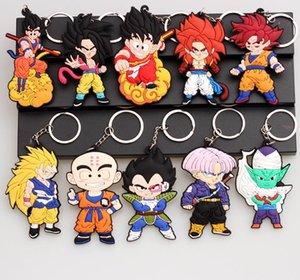 Fashion Dragon Ball Z Keychain PVC Anime Super Saiyan Goku Key Chain Cartoon Action Toy Figures Model Trinket Key Holder Ring