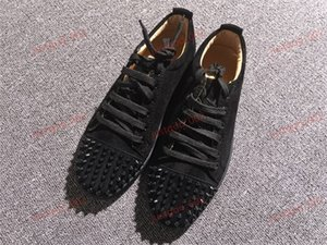 xshfbcl Mens Red Bottoms Skate Shoes Studded Spikes Bottom Flats Daily Casual Skateboarding Sneakers For Women Triple Black Silver