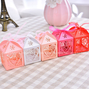 50PCS Love Heart Laser Cut Candy Box Gift Boxes Ribbon Wedding Party Favor Candy Box