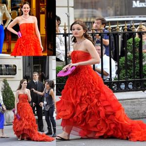 Gossip Girl Blair robes rouge drapée organza robes de soirée bustier sans manches Vestidos de Celebridades Celebrity Robes