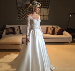 2021 Vintage Long Sleeve Country Bridal Dress with Sash Sheer Shoulder Lace Custom Made Bride Ball Gown Wedding Dresses