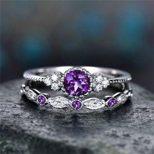 Compleanno pietra cubica zircone anello anello di diamanti Set di coppia anelli di fidanzamento di nozze donne anelli gioielli moda volontà e regalo di sabbia