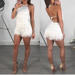 Top Quality Purple Sleeveless Tassel Mini Rayon Bandage Playsuit Party Sexy Playsuit