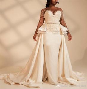 Üst etek İnciler Boncuklu Illusion Afrika Gelinlik Gelin törenlerinde vestidos de novia ile Uzun Kollu Artı boyutu Denizkızı Gelinlik