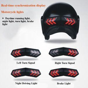 12V беспроводной мотоцикл шлем LED тормозной сигнал поворота световые индикаторы