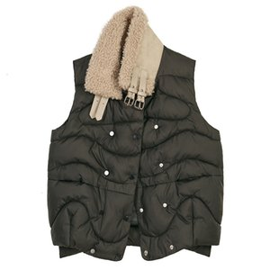 Women's Vests Women Loose Lambswooll Split Cotton-padded Fit Vest Stand Collar Sleeveless Fashion Tide Spring Autumn 2021 D706