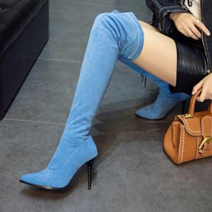 حجم كبير 33-47 48 مصمم على الركبة الفخذ أحذية عالية الدنيم الأزرق وأشار كعب خنجر الفاخرة كعب حذاء المرأة مصمم