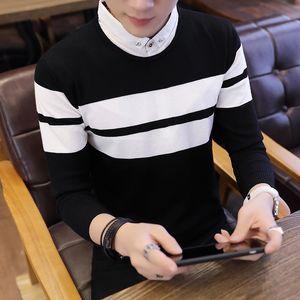 2019 Homens Striped Sweater Fine-knit Casual ombro caído colarinho camisola de malha / Homem algodão de alta qualidade camisola slim fit