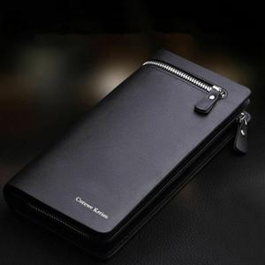 Новый дизайн мужчины ПУ кожаный бумажник с RFID безопасный код защиты SIM-карты блокировка мужской деловой черный длинный бумажник