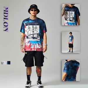 primavera y el verano de lujo del diseñador del hip-hop hombres del estilo 2020 nueva personalidad del cráneo de la moda callejera japonesa tinte suelta Lazo abstracto camiseta