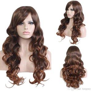 حار بيع 65CM ناتروال طويل موجة عميقة الاصطناعية شعر مستعار للنساء براون تأثيري الباروكات مع دوي عالية الجودة أنثى منفوش الشعر الباروكات المنتجات
