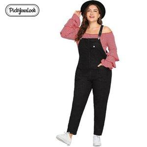 Pickyourlook Kadın Tulum Tulum Artı Boyutu Siyah Casual Lady Playsuits Büyük Kadın Romper Tulum Backless Kadın Bodysuit Y19060501