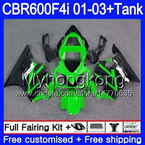 Body +Tank For HONDA CBR 600F4i CBR600FS CBR600F4i 01 02 03 286HM.63 CBR600 F4i 600 FS CBR 600 F4i 2001 2002 2003 Fairings Green black hot