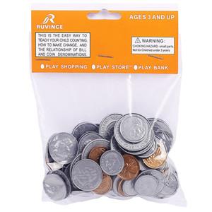 Play Money Coin 100pcs / set tostões, 20 cada um de um centavo, nickles, moedas de dez centavos e quartos, meias-dólares Falso Plástico Coin para crianças de Aprendizagem