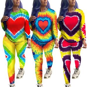 Kadın kravat boyalı Eşofman Uzun Kollu kazak Pantolon Pantolon Tops Renkli kalp baskı İki Adet Kıyafetler set Spor Takım Elbise Eşofman LJJA3021