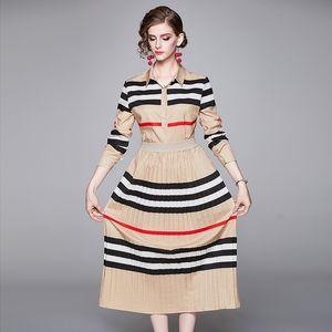Luxury Two Piece Moda Mulheres de vestido listrado camisa de manga longa + saia plissada Terno Vestido Plus Size Ladies Escritório Two Pieces Define Vestidos