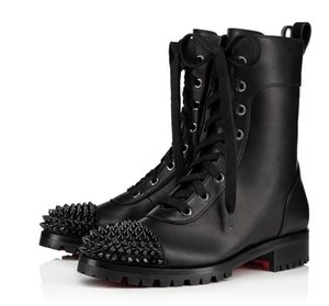 Brand New Combat Boots Black Genuine Leather Ts Croc Women's Ankle Boots Spikes Winter Red Bottom Boots Party Wedding EU35-43