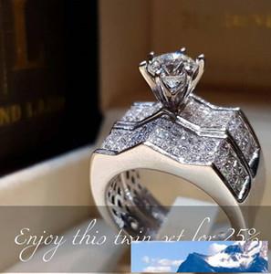 Nouvelle arrivée Bijoux Argent 925 Anneaux Couple Pave blanc Saphire CZ diamant femmes mariage Bague de mariage pour les amoureux cadeau