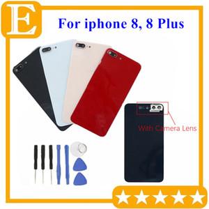 iPhone 8 8 Artı Pil Kapak 10pcs Arka Pil Kapağı Arka Cam Konut Kapak Kılıf İle Kamera Lens Çerçevesi