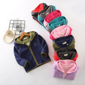 2-9T Kids Fleece Jackets Coats Embroidery Baby Boy Girls Hooded Jacket Winter Autumn Spring Child Girl Outfit Teenagers Outwears