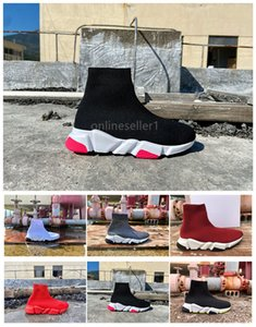 Designer Women Men Sock Shoes 2020 New Popular Triple Black White Grey Red Colorful Sock Casual Shoes For Men Women With Box Cheap