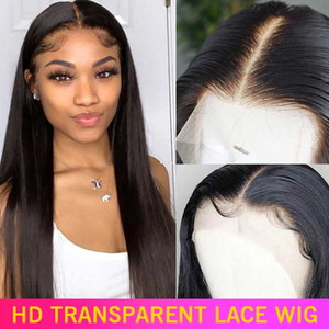 full lace human hair 360 Lace Front Human Hair Wigs Pre Plucked Brazilian Straight Lace Frontal Wig With Baby Hair Remy