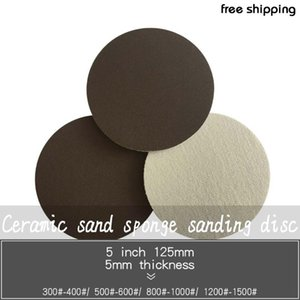 5Pcs 5 Inch 125mm Ceramic Sand Sponge Sandpaper Sanding Disc Red Hook and Loop 300-1500 Grit for Polishing & Grinding