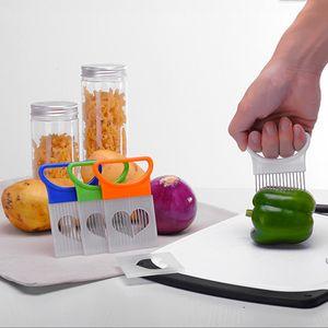 Einfache Zwiebelhalter Slicer Wholesale Gemüse Werkzeuge Tomaten Cutter Edelstahl Küchenhelfer Keine stinkenden Hände DBC DH0585