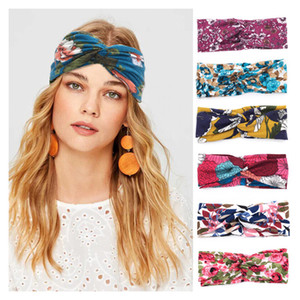 Women Hair Band Floral Printed Cross Knot Yoga Sports Headband Sweatband Ladies Wide Headwear Wash Face Head Scarf 15 Colors 050325