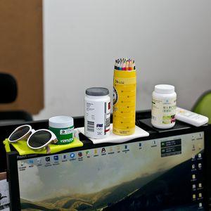Çok Fonksiyonlu Depolama Raf Yaratıcı Ofis Masaüstü Bilgisayar Ekran Tutucu Siyah Beyaz Yeşil Depolar Raf Yeni Varış 5hla L1