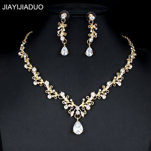 La joyería Ridal jiayijiaduo joyería nupcial conjunto de dr vestido de novia Noble Mujeres Accesorios pendientes cristalinos del collar Conjunto de color de oro ...