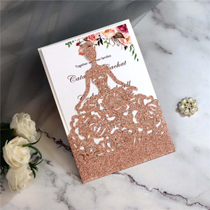 Carte Glitter Laser Cut Crown Princess Inviti per il compleanno Quinceanera rosa Ragazza Inviti di nozze Moda Hollow Cartolina di auguri