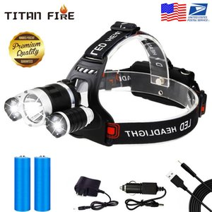 Super Headlamp 12000 Lumens XM-L T6 with AC Car USB Chargers and Batteries Stock in USA CA State