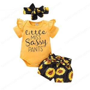 Ребёнки шорты Костюм подсолнуха Печатные Детская одежда Детская одежда конструктора Gilrs Boutique Рябь PP шорты оголовье США 3-18M