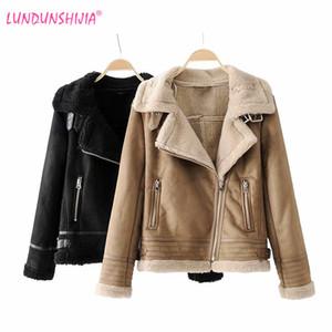 LUNDUNSHIJIA 2018 Winter alta -Calidad chaqueta de ante de las mujeres Cordero mantener caliente Motorcyclepels de lana capa femenina de la chaqueta más gruesa