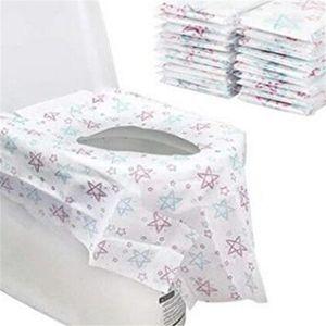 Práctica WC desechable Estrella de papel de impresión no tejida para ir al baño protector impermeable Asiento Noche heces Cubiertas Home Hotel Bath Room 12 5cr E19