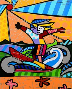 Surfer Boy by Romero Britto Home Decor Large Hand Oil Painting On Canvas Wall Art Canvas Pictures 200528