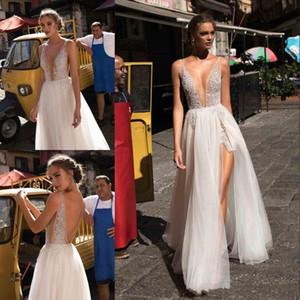 2019 Berta Bohemian Backless Vestidos de novia con apliques A-Line Cuello en V profundo con lentejuelas Split Vestidos de novia Vestido de Novia con cuentas