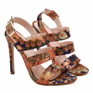 nuevo estilo sandalias puntiagudas tacones de aguja de las mujeres 2020 del estilo de lujo de pescado tamaño del patrón de Phoenix paño de color zapatos de color a juego de las mujeres de la boca