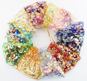 7x9 cm Empaquetado de la joyería Bolsos de Organza Bolsas de regalo de boda Diseño de flores color de rosa Organza Bolsa Banquete de boda Favor del regalo Bolsa