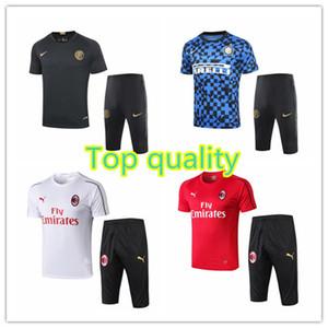 2019 Inter AC milan mens pantalon de vêtements manches courtes Martínez soccer Lukaku Borini kits sport chemises de formation de football