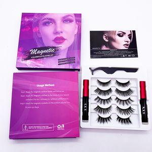 5 pares magnético del imán eyelashs Delineador de ojos Kit de actualización 3D pestañas falsas 2 Tubos de ojos líquido reutilizable con pinzas Natural Ningún pegamento Necesidad