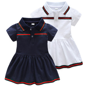 Venta al por menor de nuevos vestidos de verano para bebés Vestido de solapa de algodón para niños Ropa de recién nacidos 9 meses -3 años