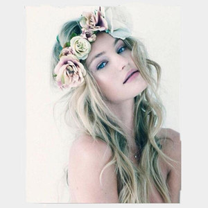 Decorative Bohemia Handmade Flower Crown Wedding Wreath Headdress Headband Hairband Hair Band Accessories for Women Lady