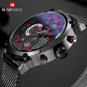 Naviforce marca preto moda malha de aço mens relógio de quartzo 24 horas data relógio masculino esporte militar relógios de pulso relogio masculino